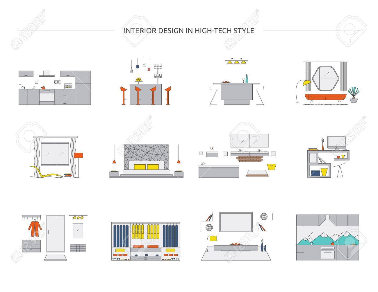 Interior Design In High Tech Style. Home Design Vector Collection ...