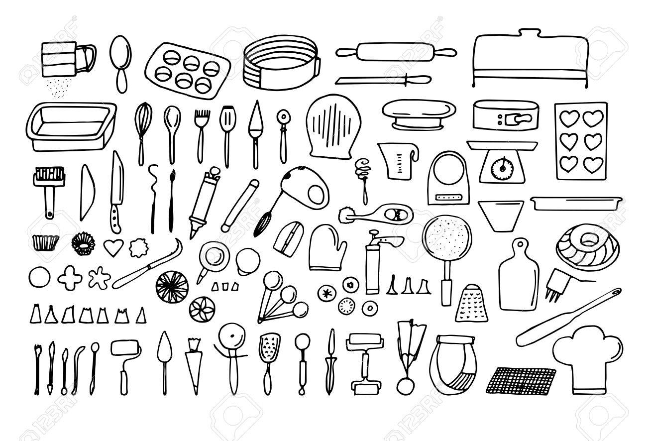Baking tools and essentials. Hand drawn bakery supplies. Line..