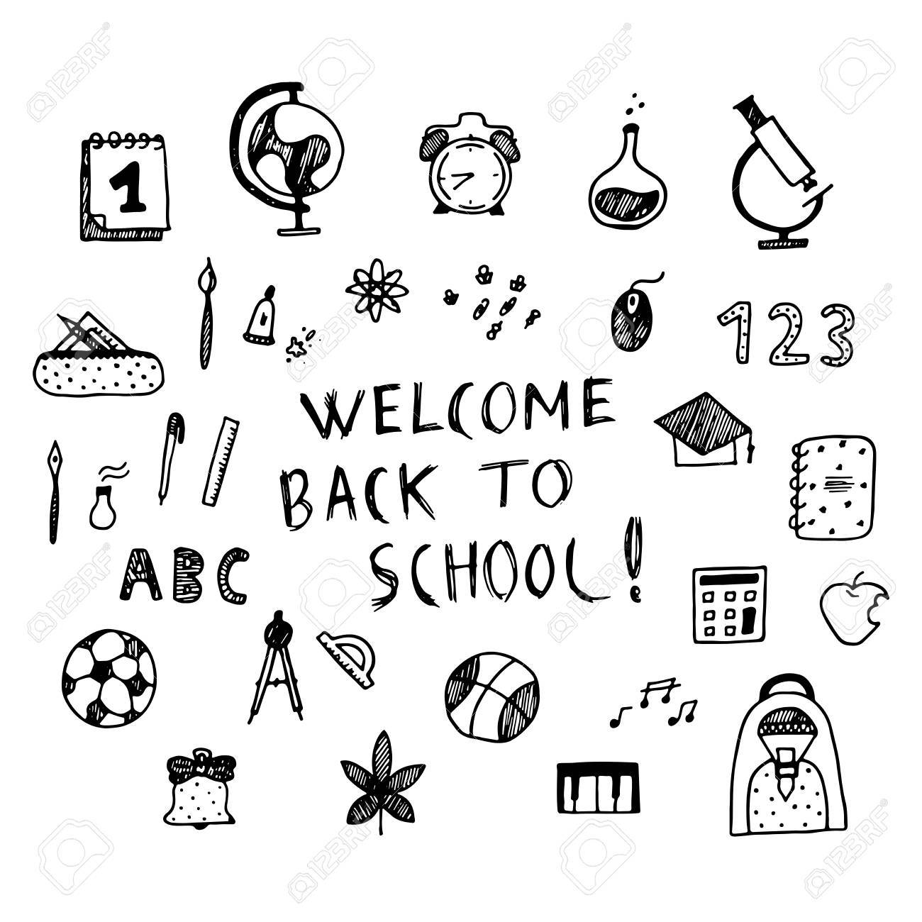 welcome back to school poster. hand drawn vector illistration