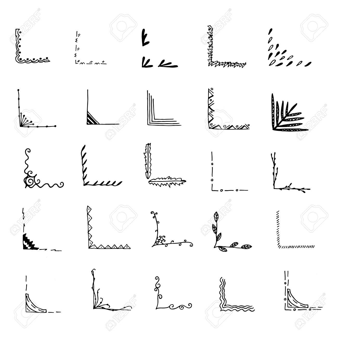 Hand Drawn Corner Set. Vector Frames. Black And White. Royalty Free ...