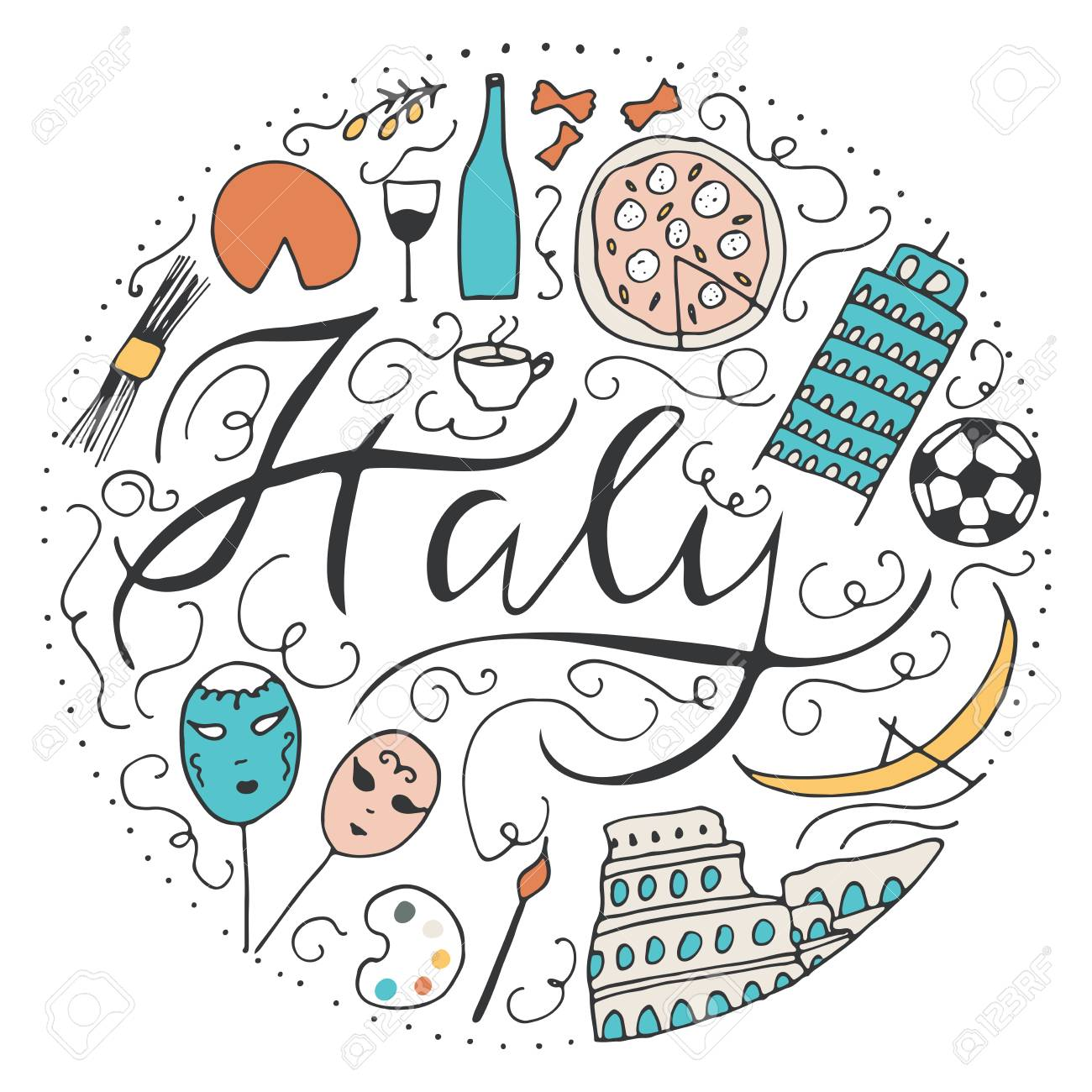 Symbols Of Italy Doodle Vector Elements Culture Of Italy Royalty
