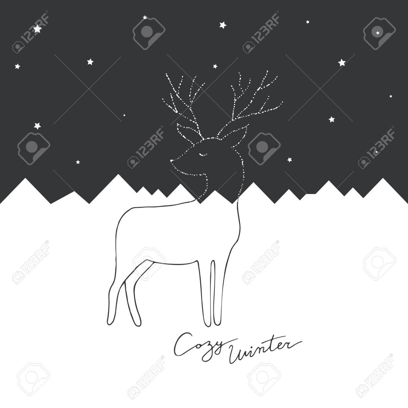 White And Black Merry Christmas Cards Design. Vector Postcards ...