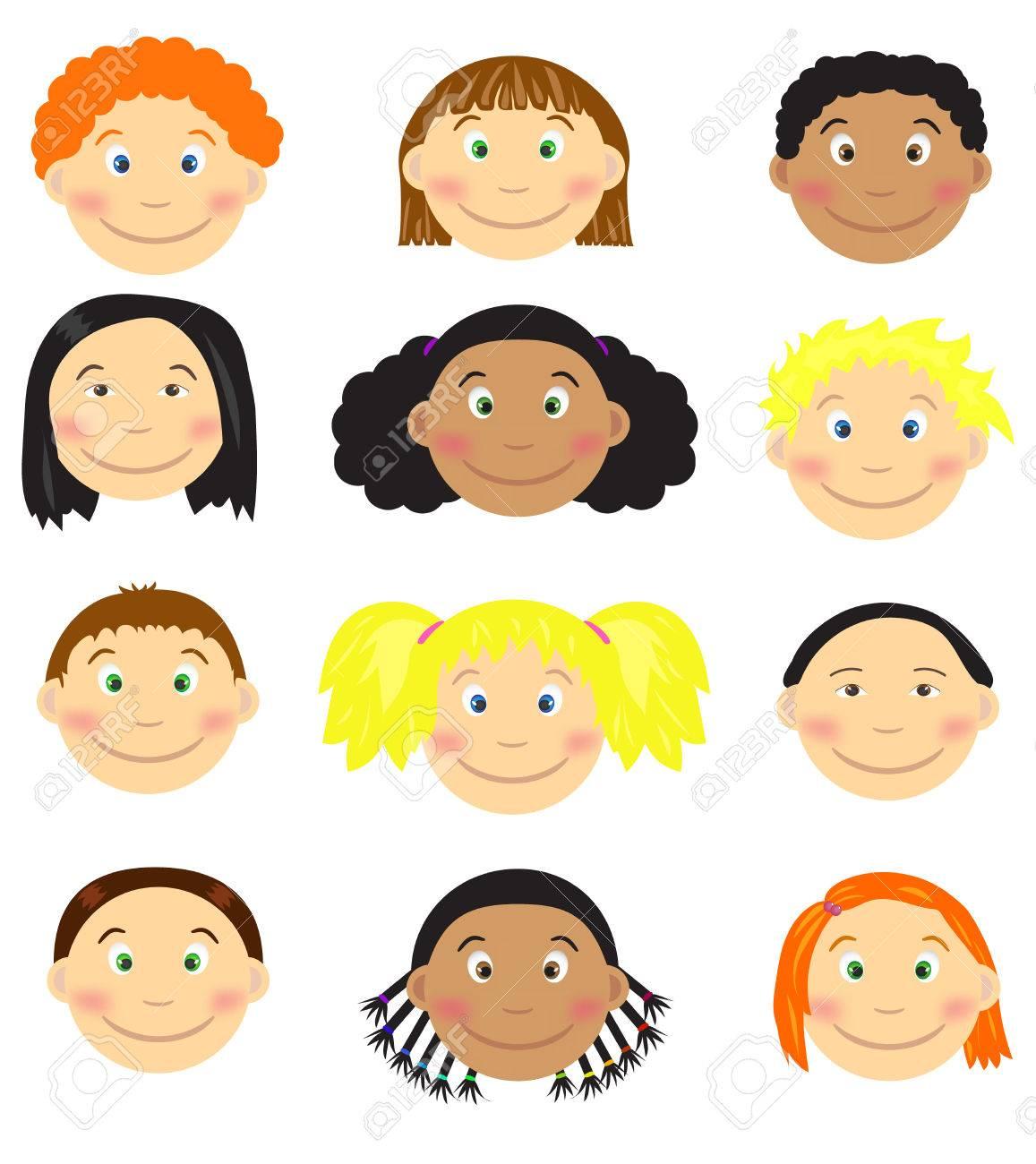 set of cartoon children s faces vector illustrations royalty free rh 123rf com vector facts vector facebook logo download