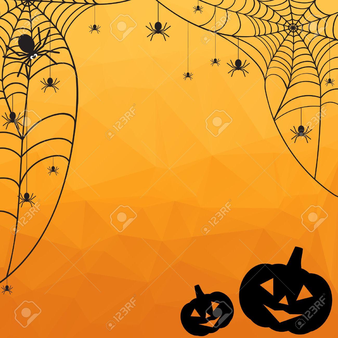 Halloween Achtergrond.Halloween Achtergrond Vector Halloween Oranje Veelhoekige Mozaiek Backgroun Met Spinnenweb Spinnen En Pompoenen Royalty Vrije Cliparts Vectoren En Stock Illustratie Image 46319990