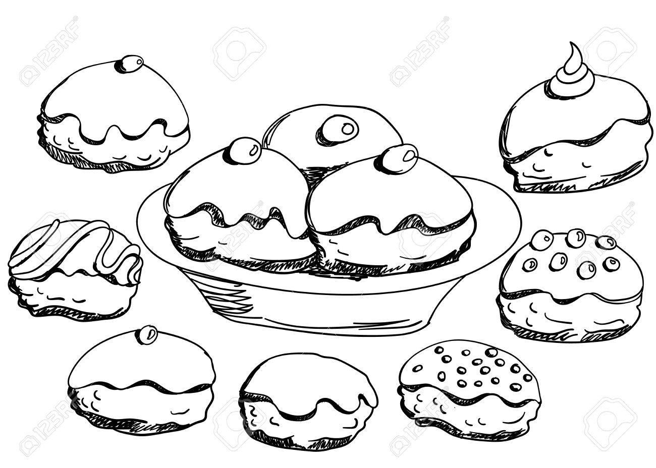 Hanukkah Donuts Set Various Donuts For Jewish Holiday Hanukkah