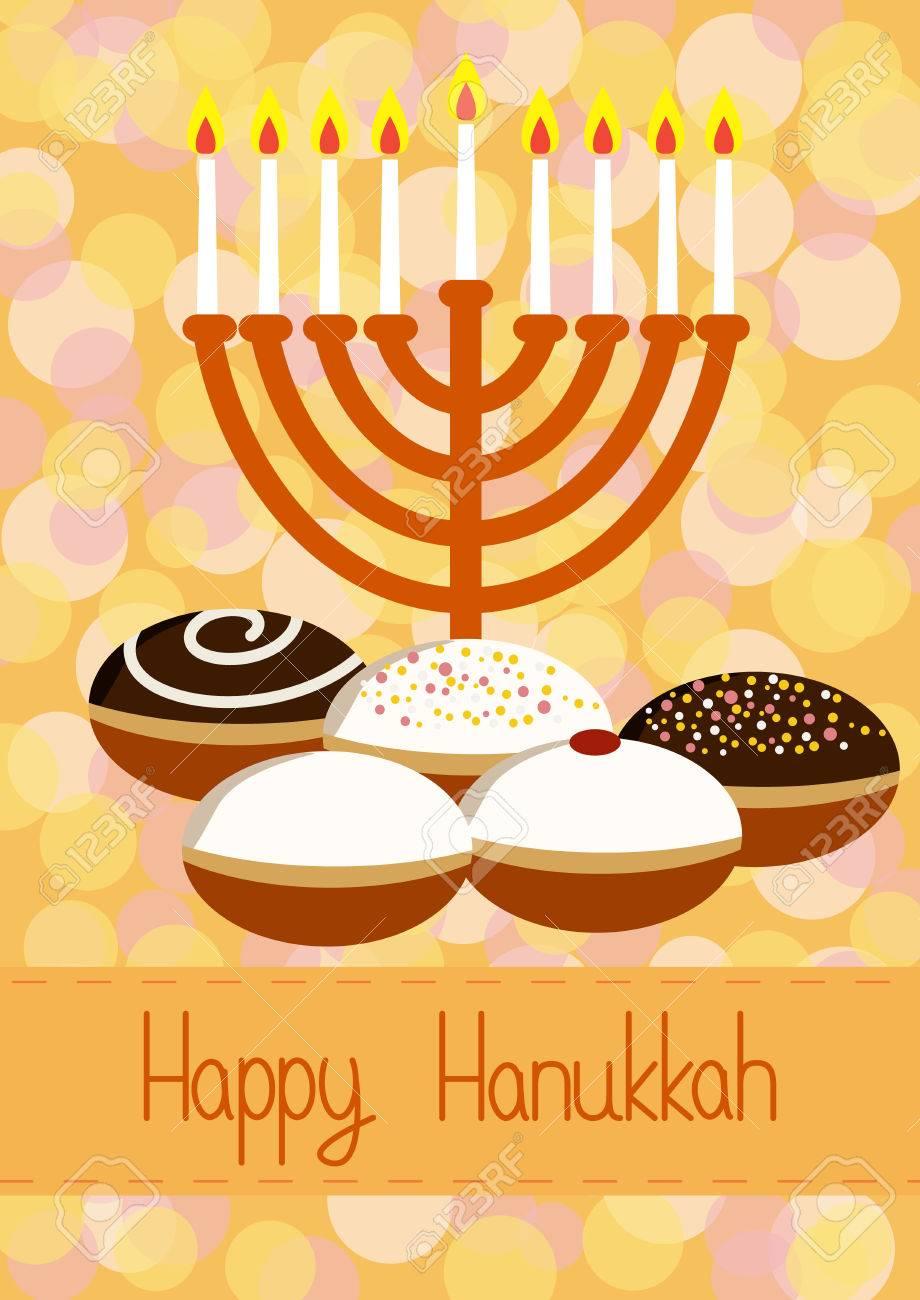 Hanukkah greeting card hanukkah menorah candles and donuts hanukkah greeting card hanukkah menorah candles and donuts design vector template for jewish m4hsunfo