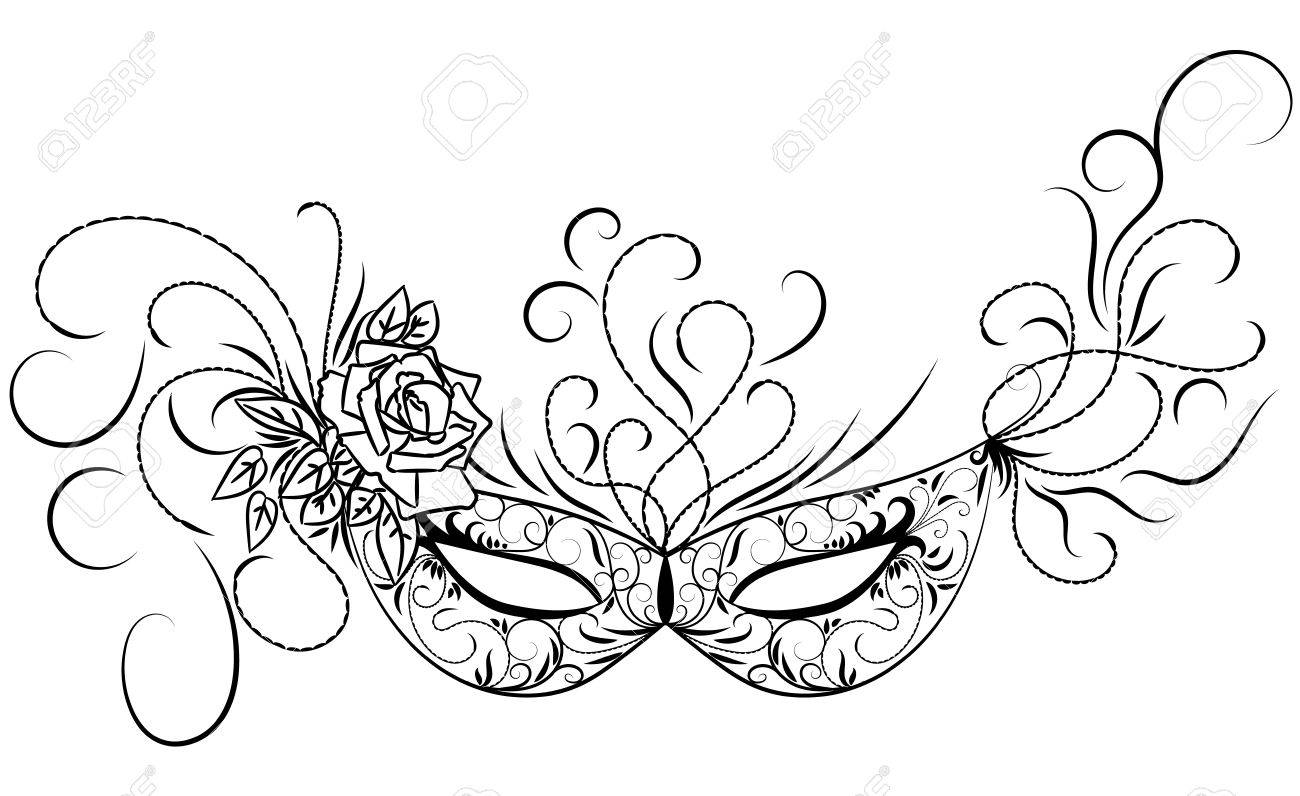 Sketch Carnival Mask. Black Outline And Decorated With Beautiful ...