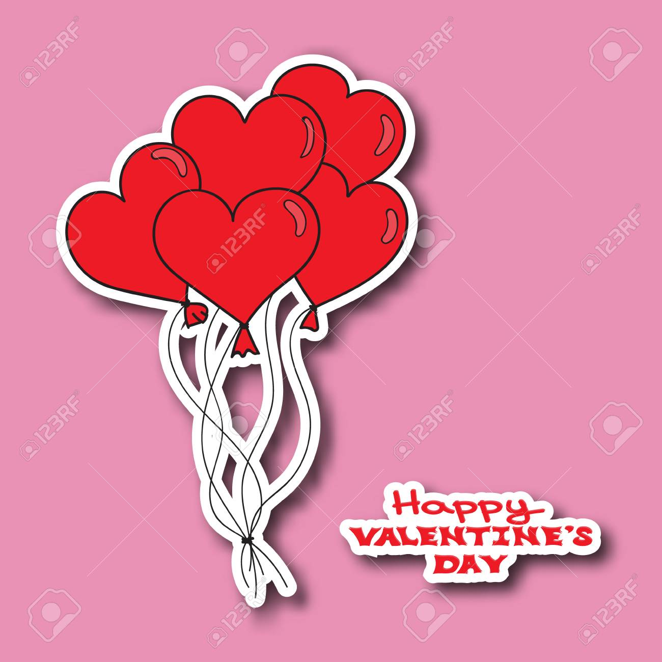 Valentines Day Card Template Hand Drawn Red Hearts Balloons