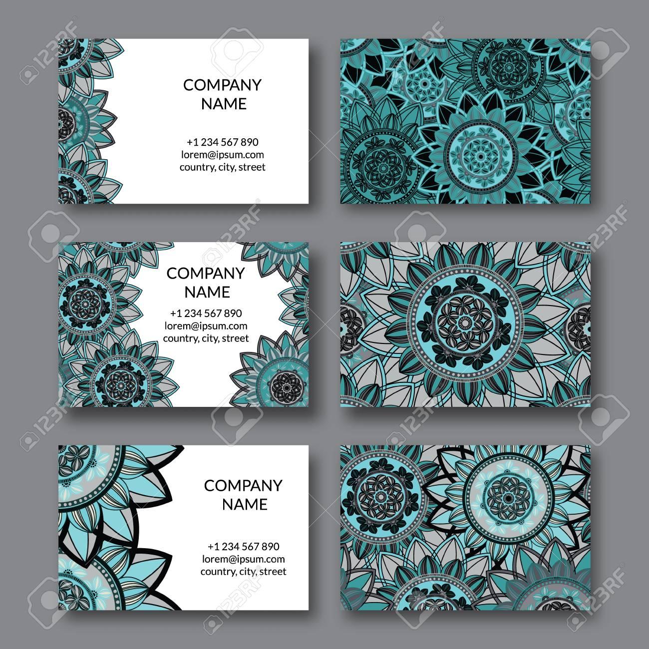 Vintage Cartes De Visite Definies Mandala Ornemental Cercle Elements Decoratifs Floraux Arabe