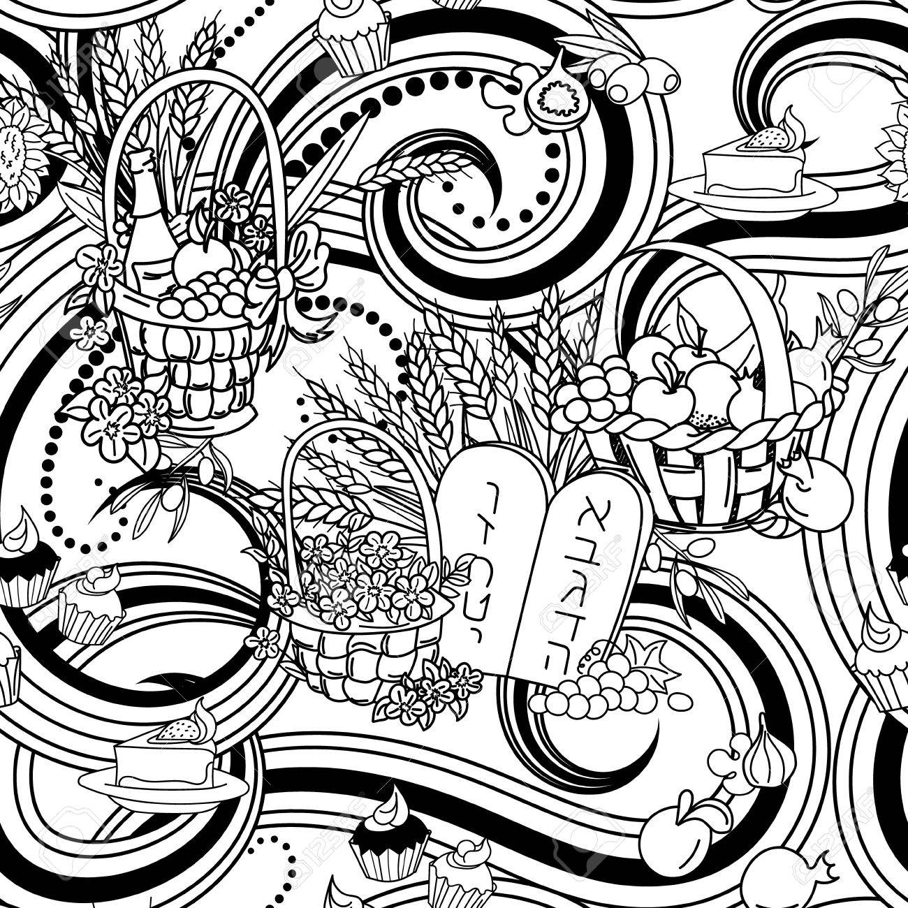shavuot seamless pattern background shavuot symbols black and white coloring page vector illustration