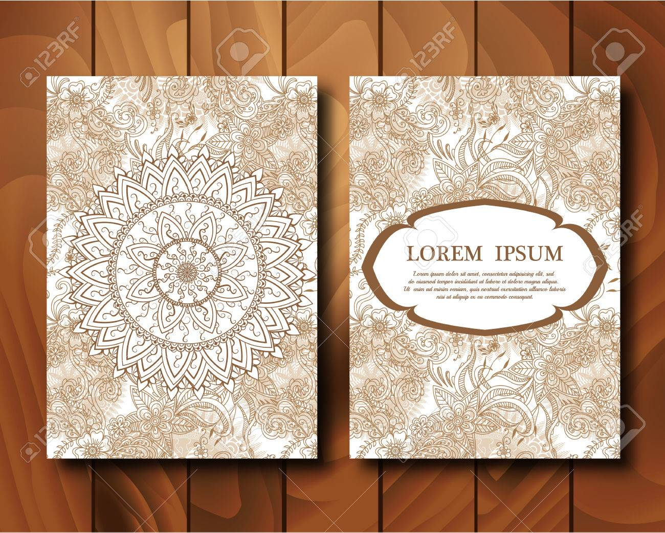 Henna Mehndi Vector : Vector vintage cards in mehndi style. invitation with