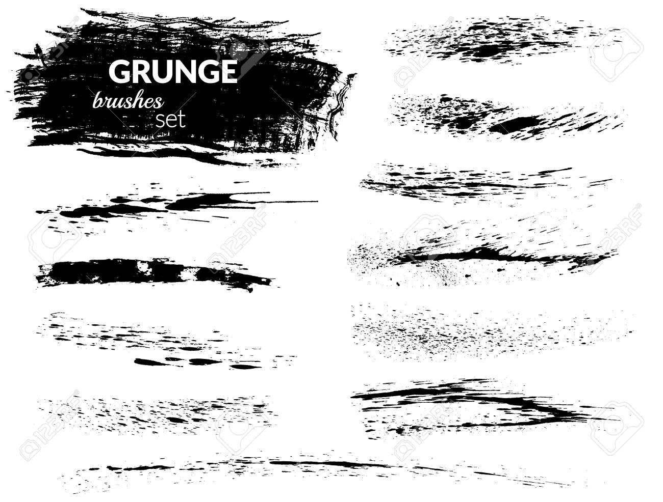 Vector art brushes  Grunge brush set  Black ink brush  All used