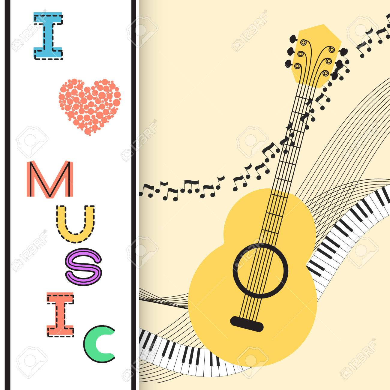 music background poster template greeting card invitation design background guitar nots