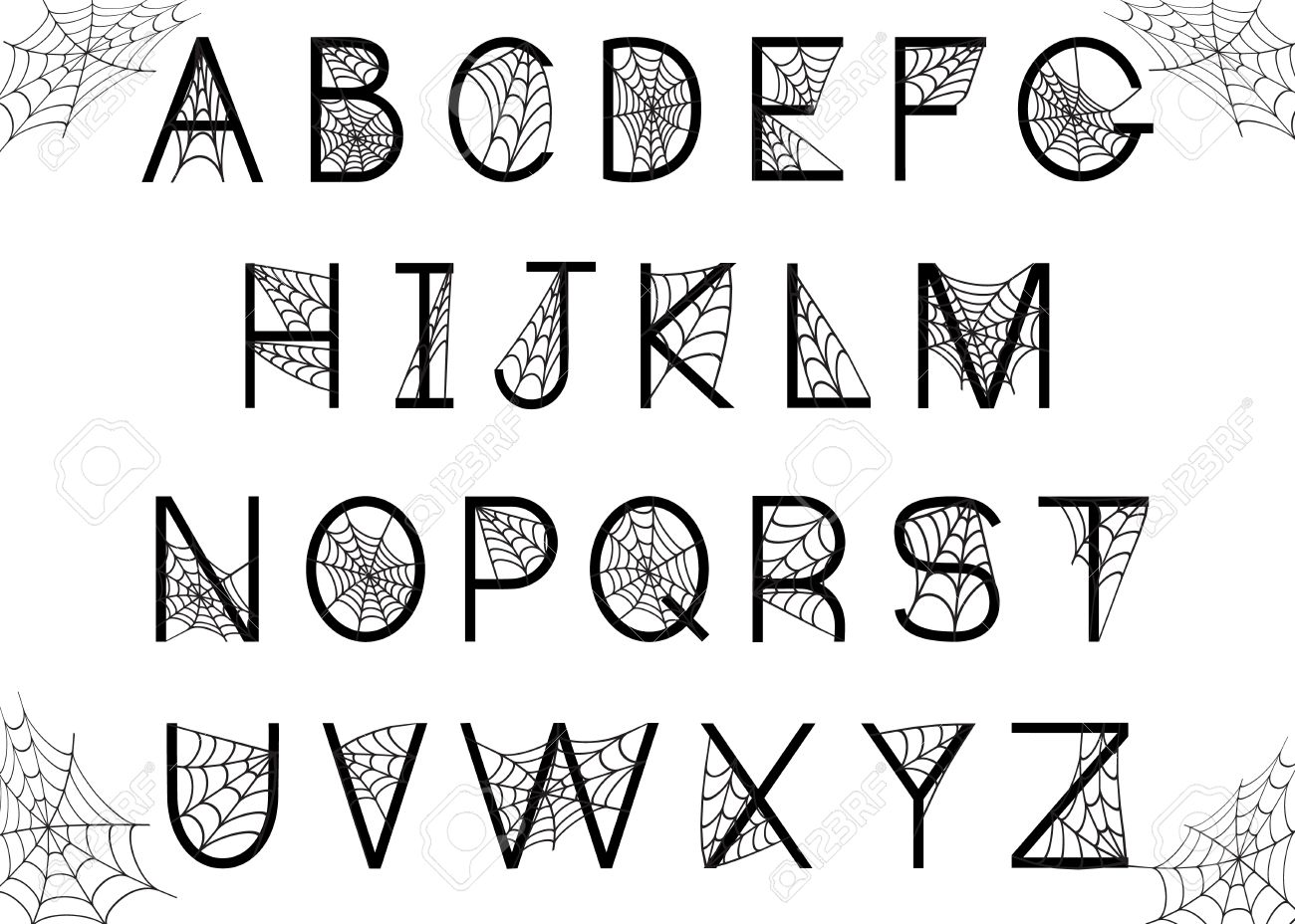 Set Of Letters With Spider Web. Halloween Alphabet. Vector Font ...