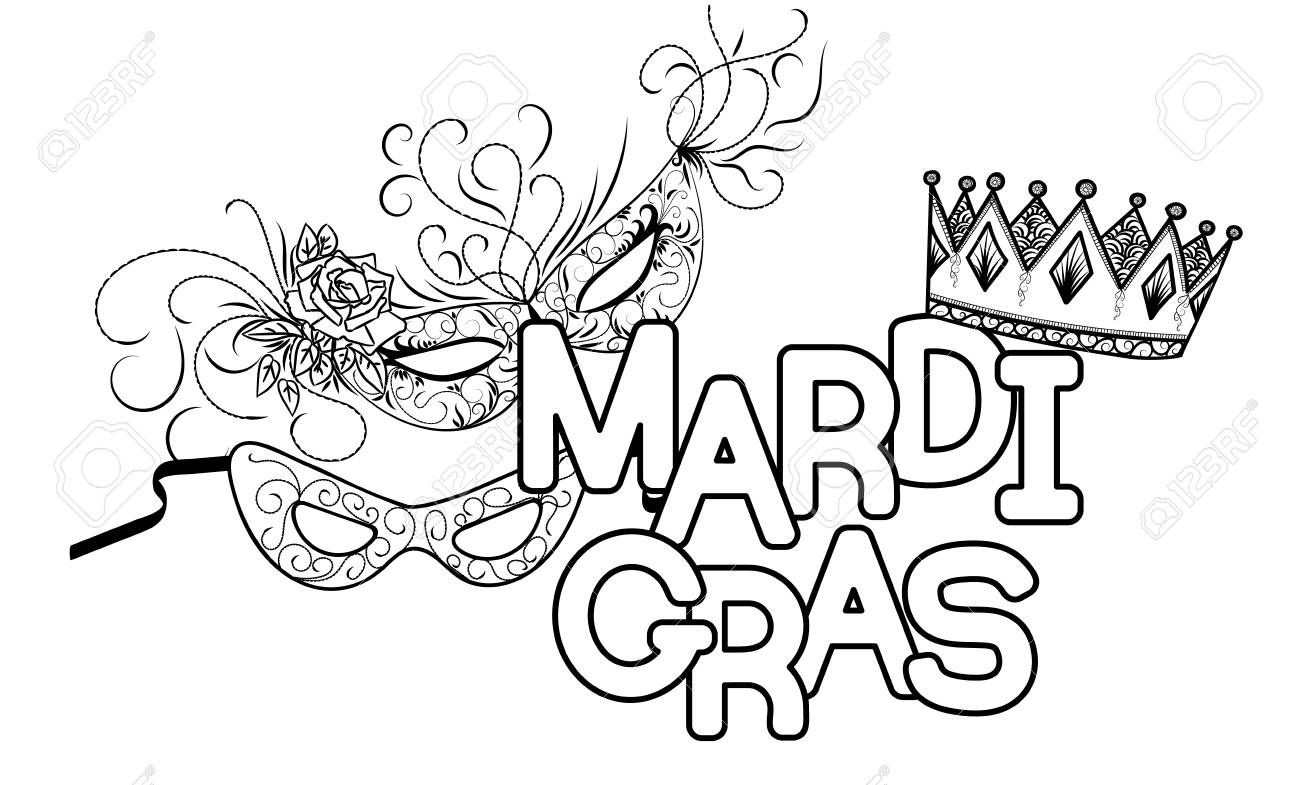 Mardi Gras O Martes De Carnaval. Máscaras De Carnaval Y Corona ...
