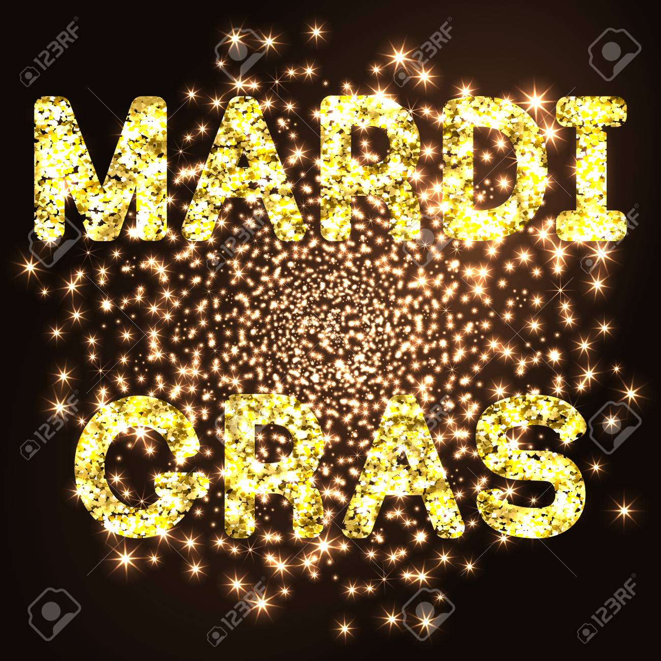 Mardi gras or shrove tuesday golden glitter text on black background mardi gras or shrove tuesday golden glitter text on black background illustration stock vector arubaitofo Choice Image