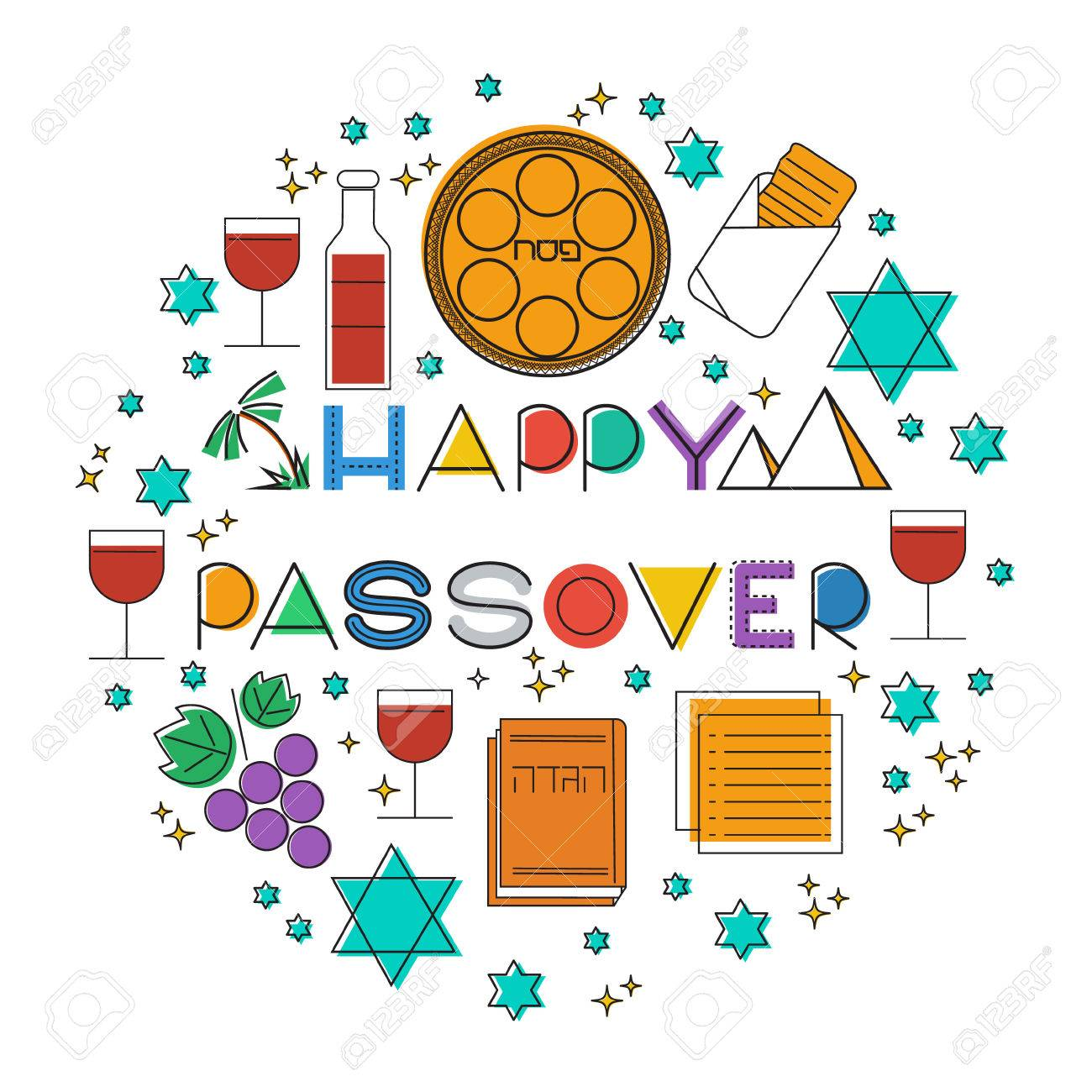Happy passover jewish holiday greeting card elements set happy passover jewish holiday greeting card elements set vectot linear illustration m4hsunfo Image collections