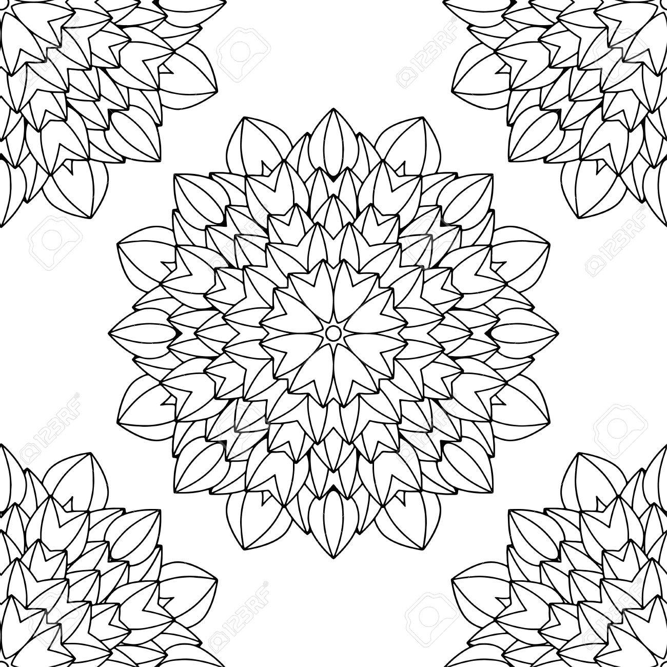 Doodles Mandala Pattern. Adult Coloring Page. Black And White ...
