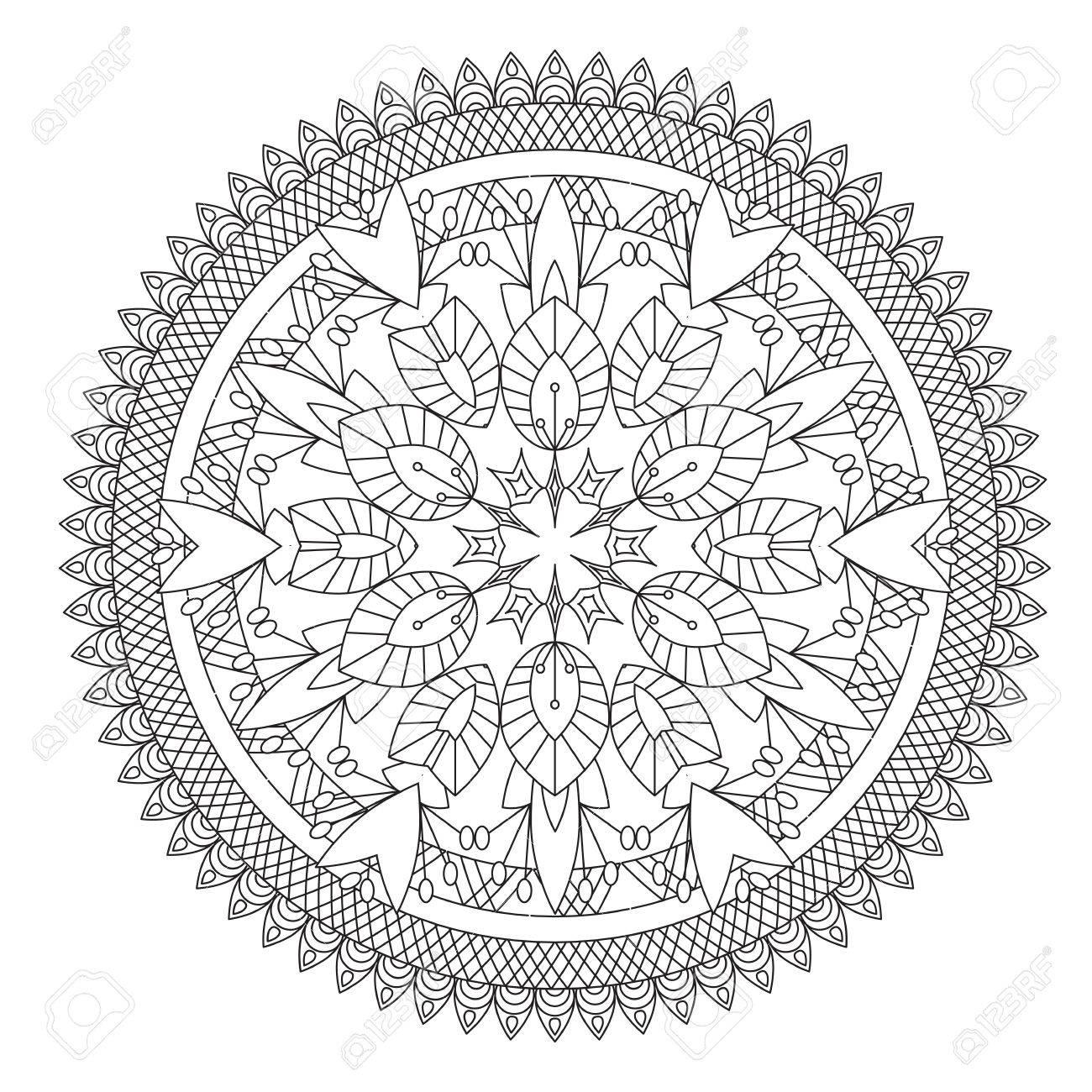 Fleur Mandala Illustration Vectorielle Modele Oriental Elements