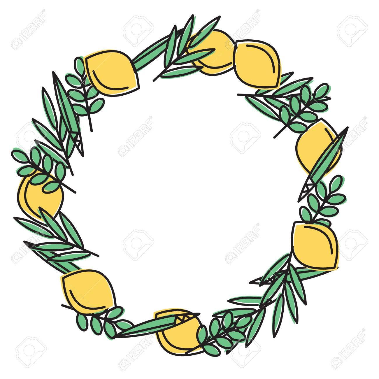 Sukkot Jewish Holiday Frame With Holiday Symbols Etrog Lulav