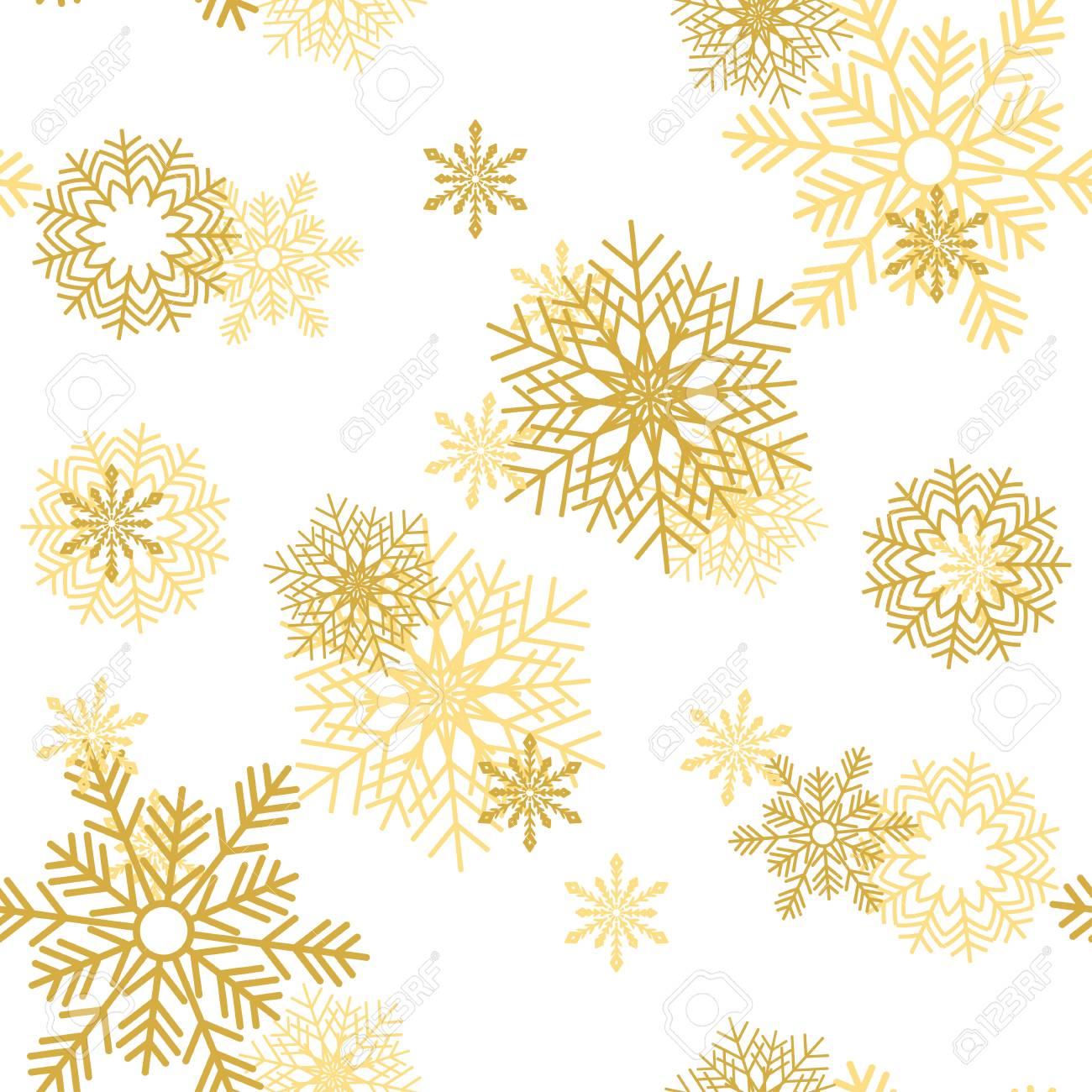 Copos De Nieve Dorados Sobre Fondo Blanco. Navidad Nevoso De ...
