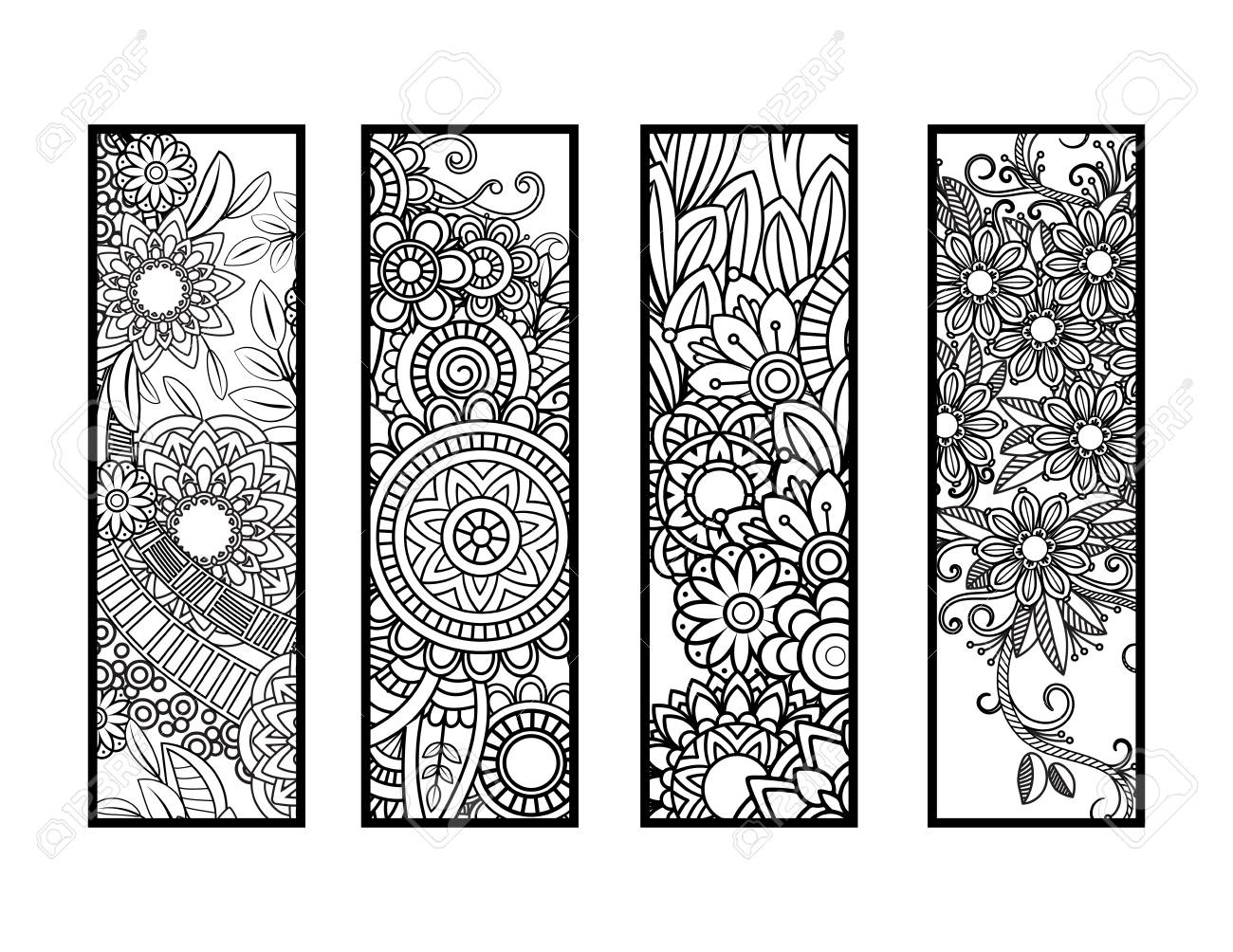 Coloring Bookmarks Set Royalty Free Cliparts, Vectors, And Stock ...