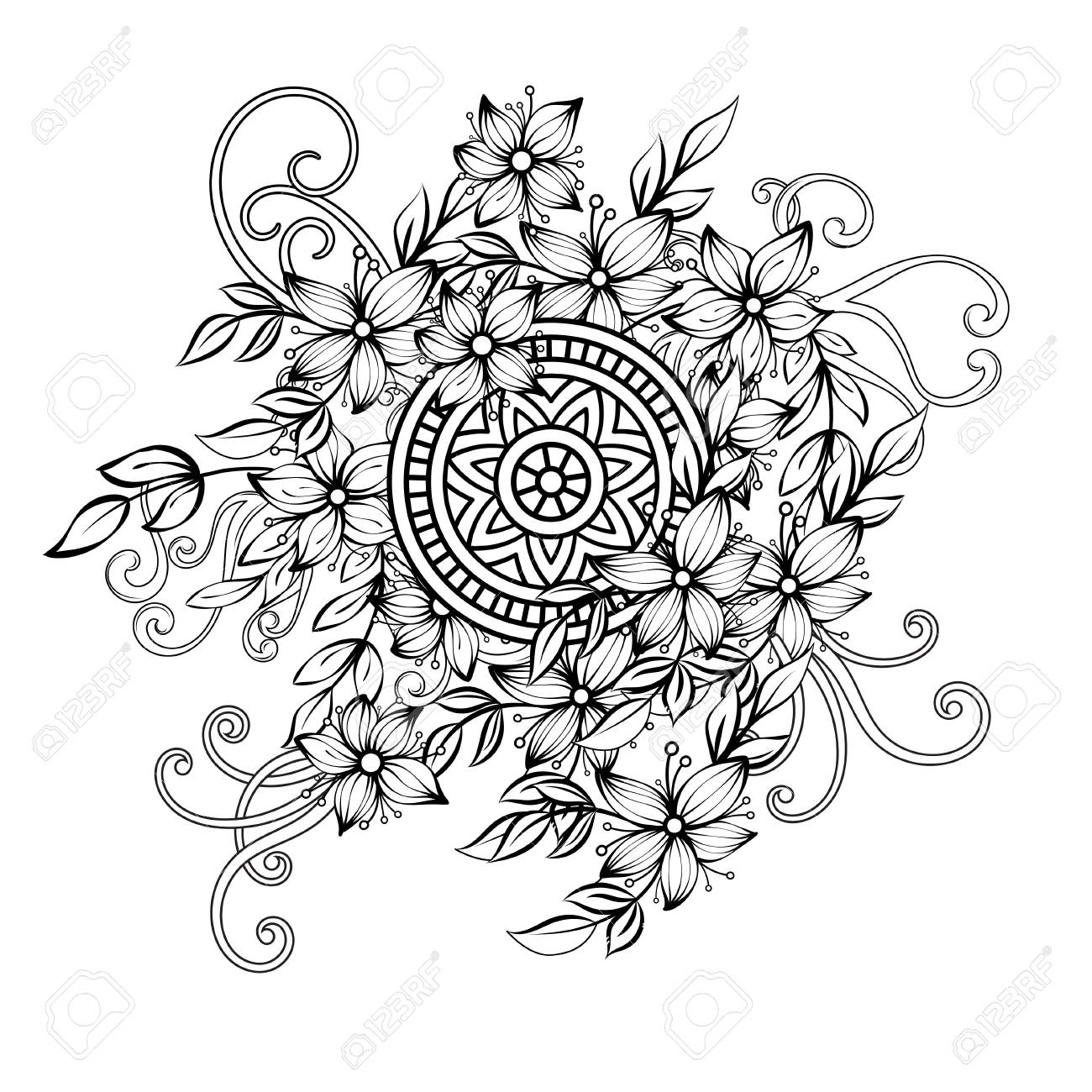 Floral pattern in black and white. Adult coloring book page with..