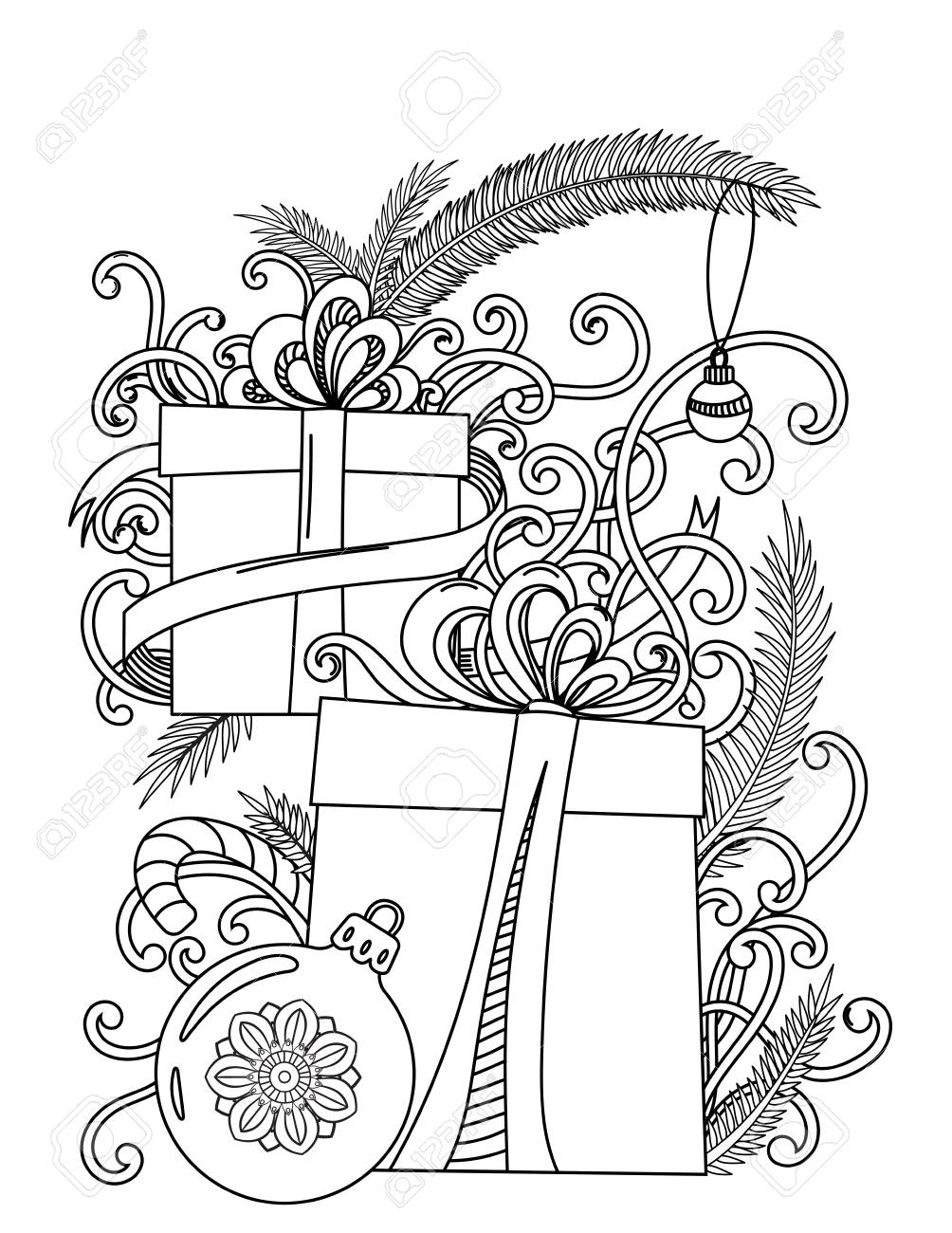 - Christmas Coloring Page. Adult Coloring Book. Holiday Gifts And