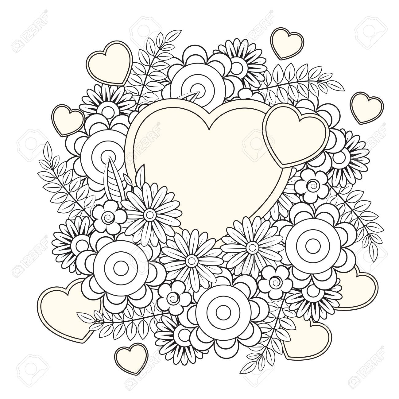 Floral Heart Valentines Day Adult Coloring Page Vector Illustration Royalty Free Cliparts Vectors And Stock Illustration Image 126028658