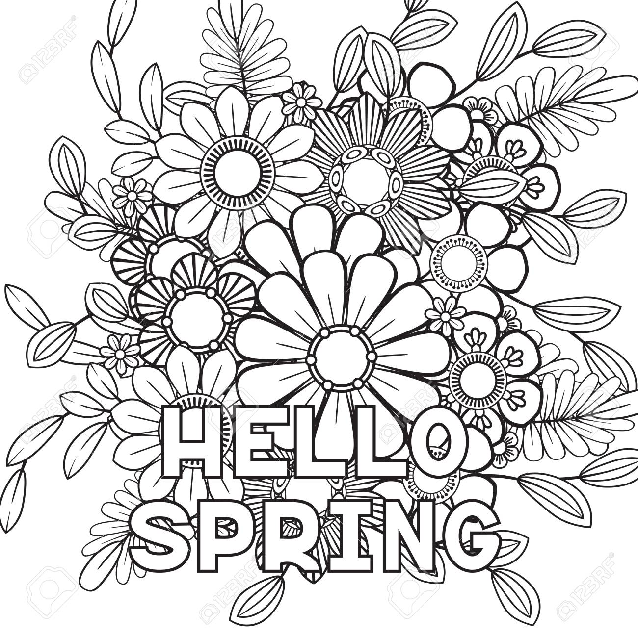 Hello spring coloring page with beautiful flowers. Black and..