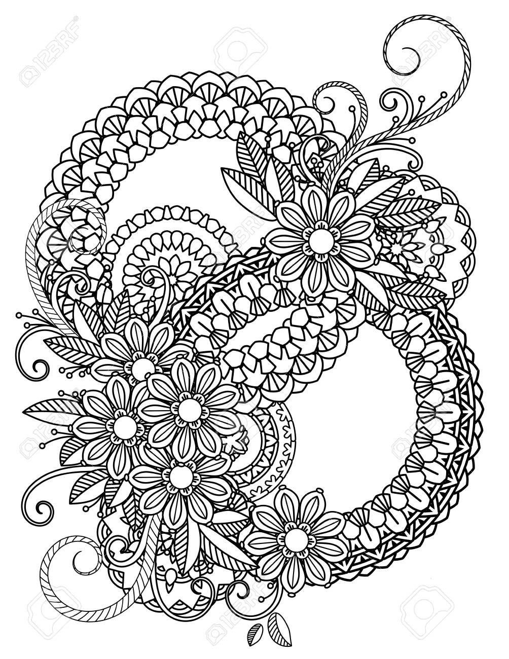 Floral mandala pattern in black and white. Adult coloring book..