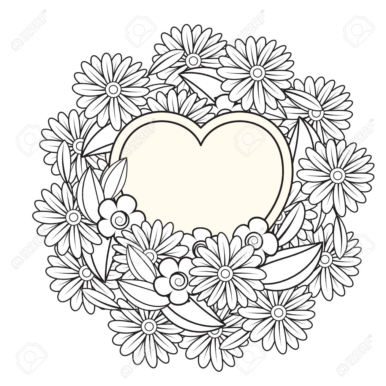 Floral Heart Valentines Day Adult Coloring Page Vector Illustration Royalty Free Cliparts Vectors And Stock Illustration Image 125773666