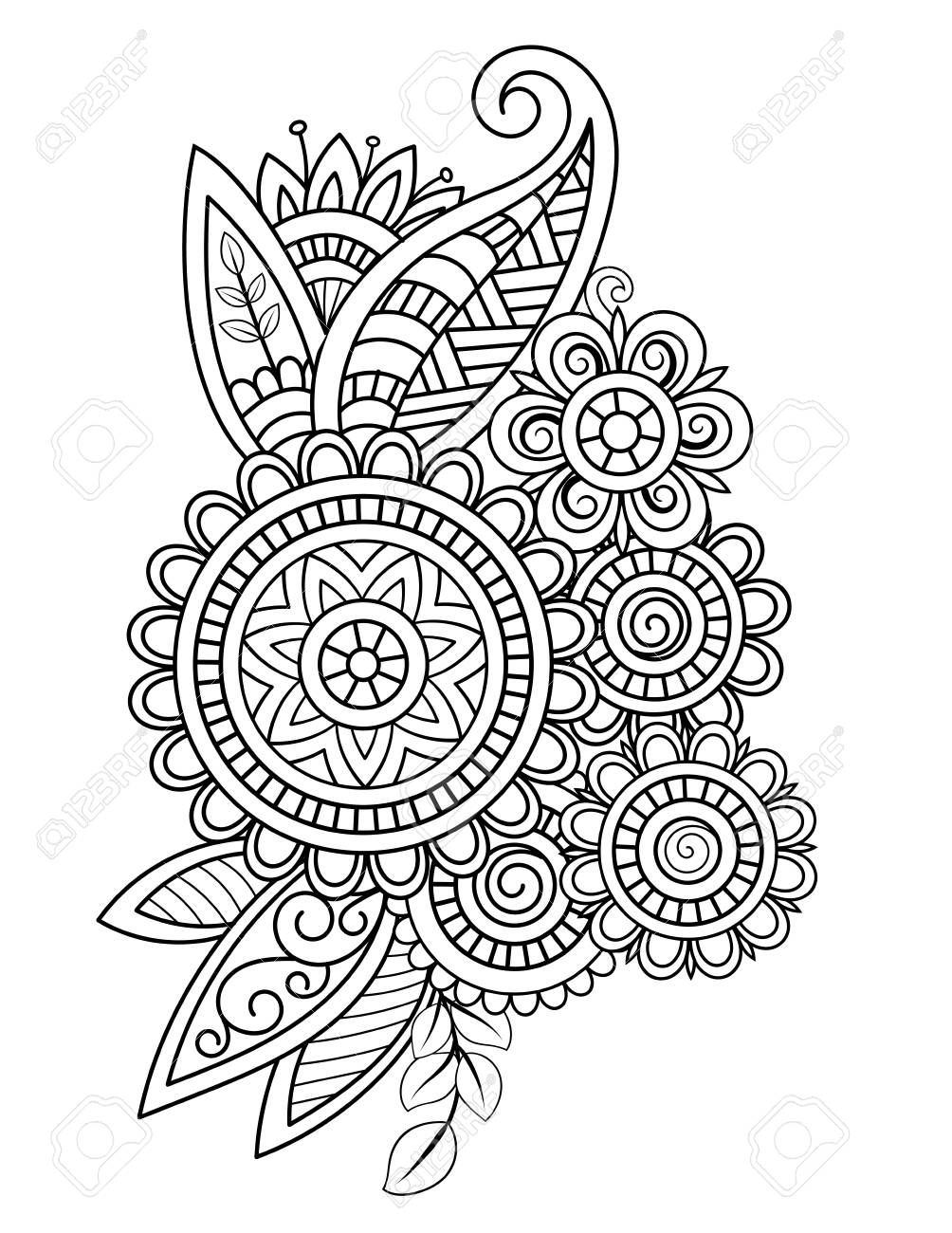 Adult Coloring Page With Oriental Floral Pattern Black And White