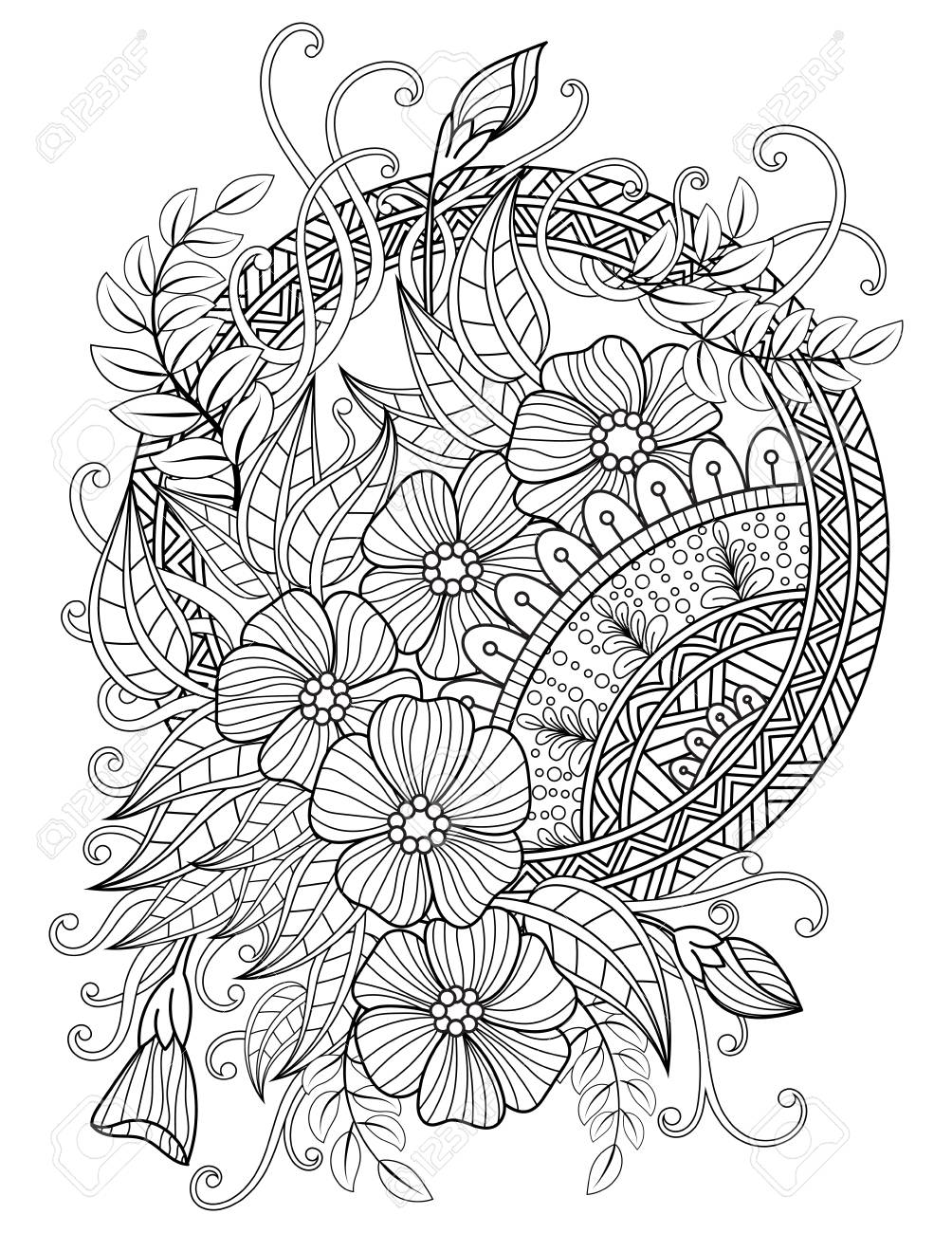 Mandala Adult Coloring Pages Royalty Free Cliparts Vectors And