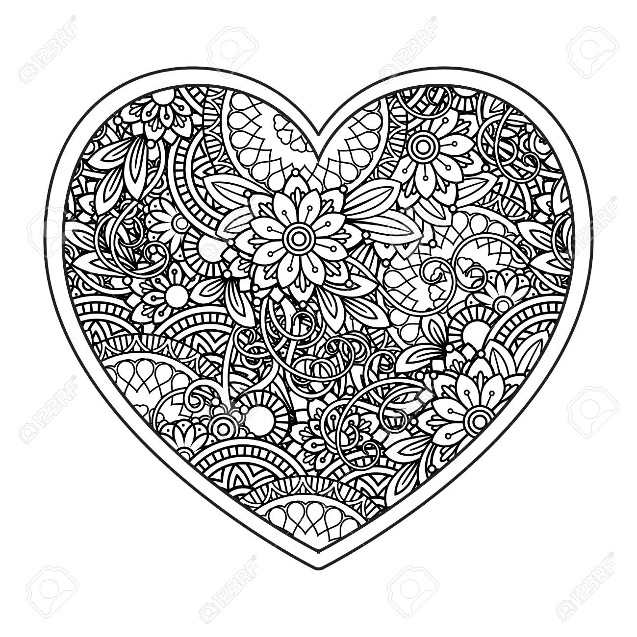 Heart With Floral Pattern Valentines Day Adult Coloring Page Royalty Free Cliparts Vectors And Stock Illustration Image 124882684
