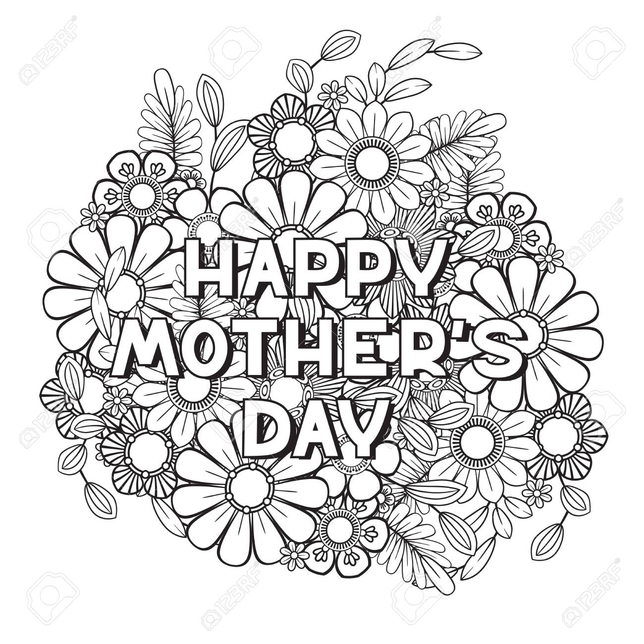 Happy Mother's Day Coloring Page For Adult Coloring Book. Black.. Royalty  Free Cliparts, Vectors, And Stock Illustration. Image 124274776.