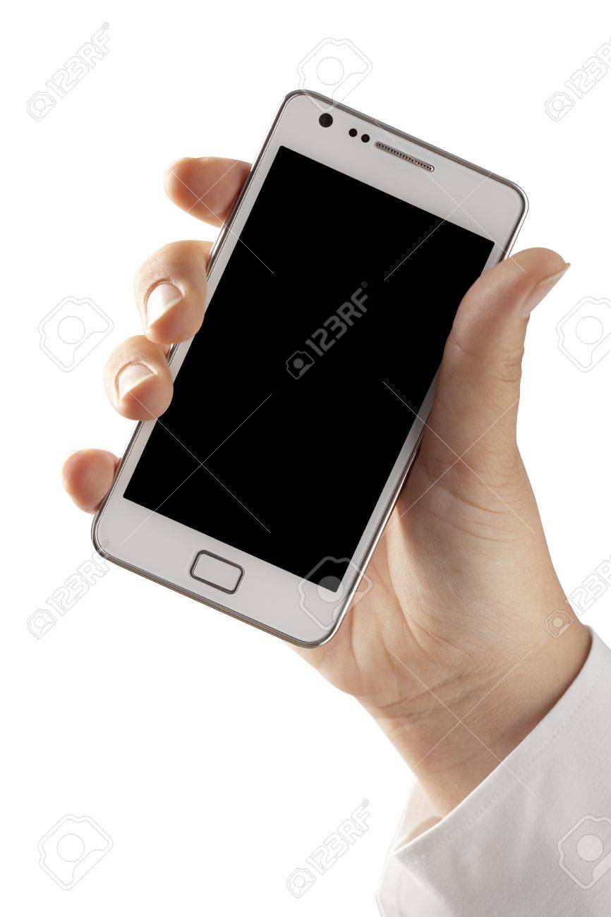 Woman hand holding an smartphone isolated on white background Stock Photo - 15386847