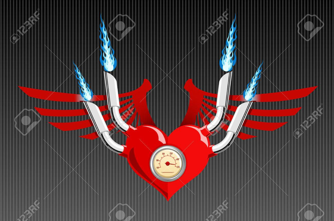 Vector illustration of a heart with wings and flames Stock Vector - 2338184