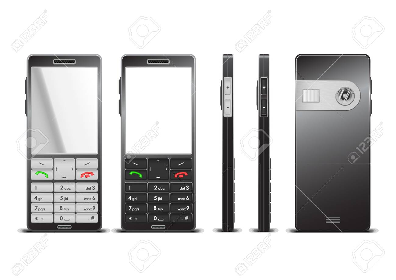 Vector photorealistic  illustration of a black cellphone, 3 sides Stock Vector - 2402443