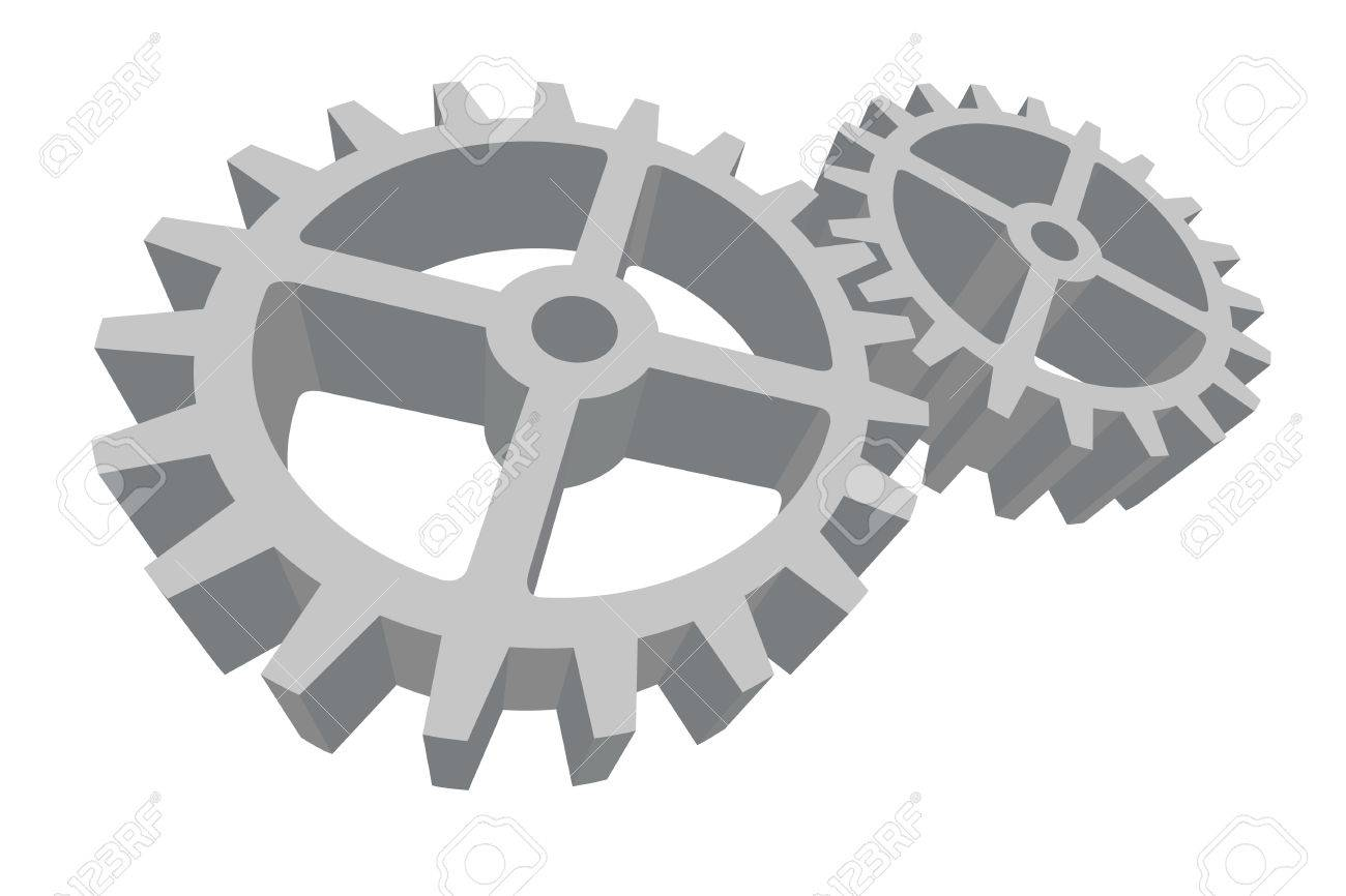 Vector illustration of two gray gears connected and working Stock Vector - 2532549