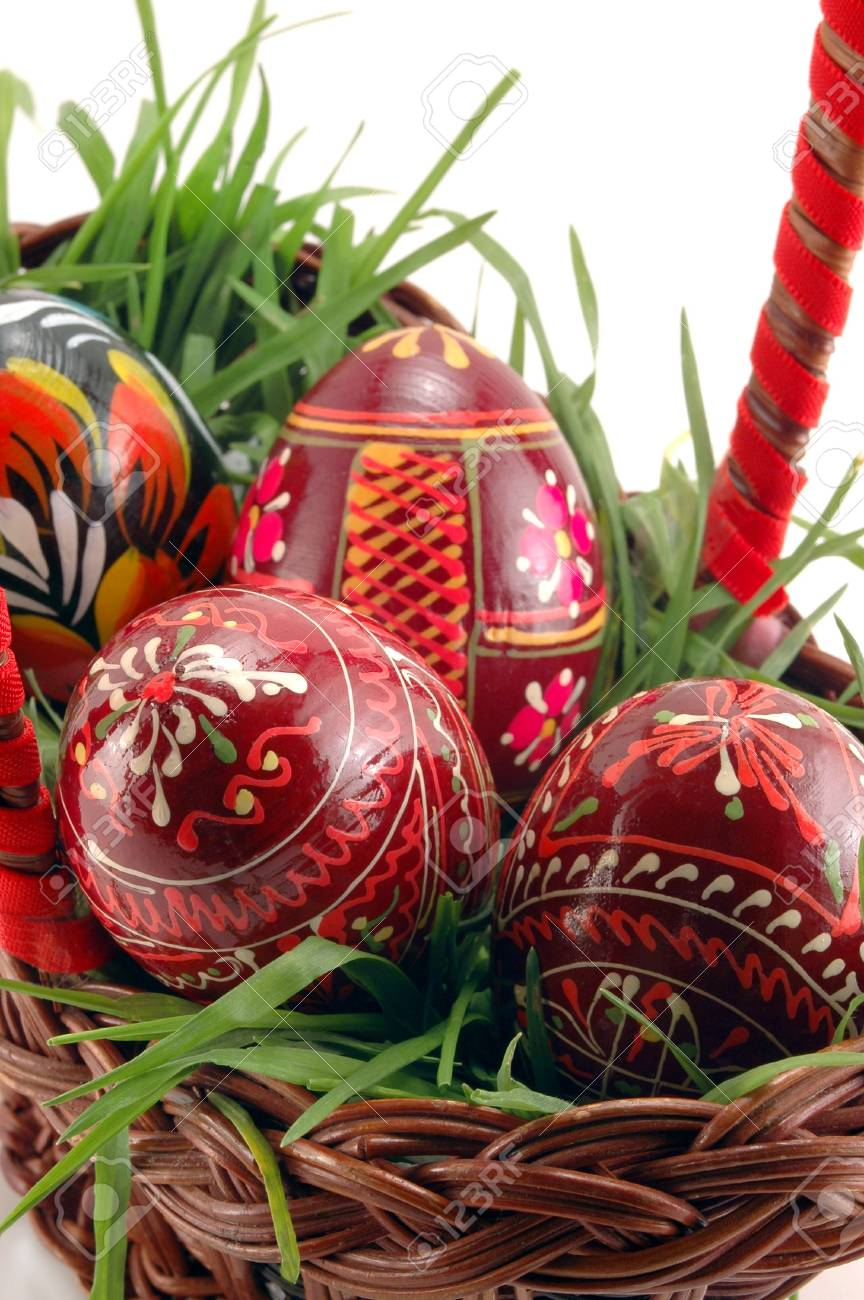 Close-up of Easter eggs in basket with grass Stock Photo - 2676243