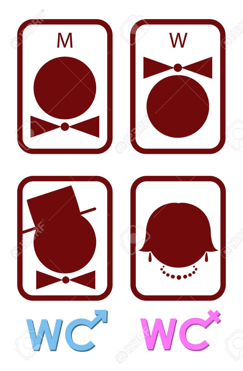 Set Of Vector Icons For Men And Women WC Royalty Free Cliparts ...