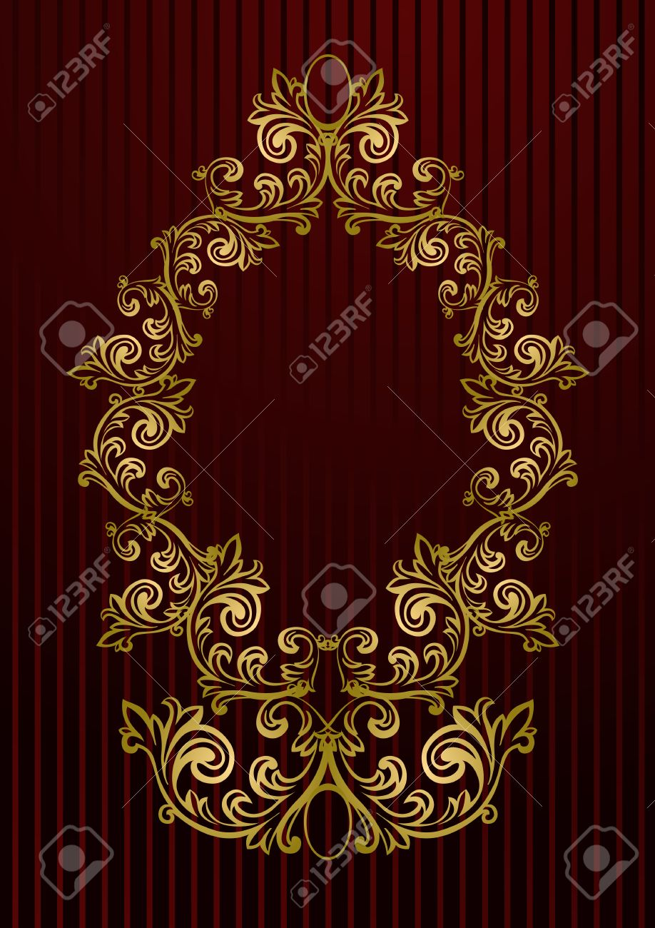 Vector Black Royal Wallpaper With Gold Floral Frame Royalty Free