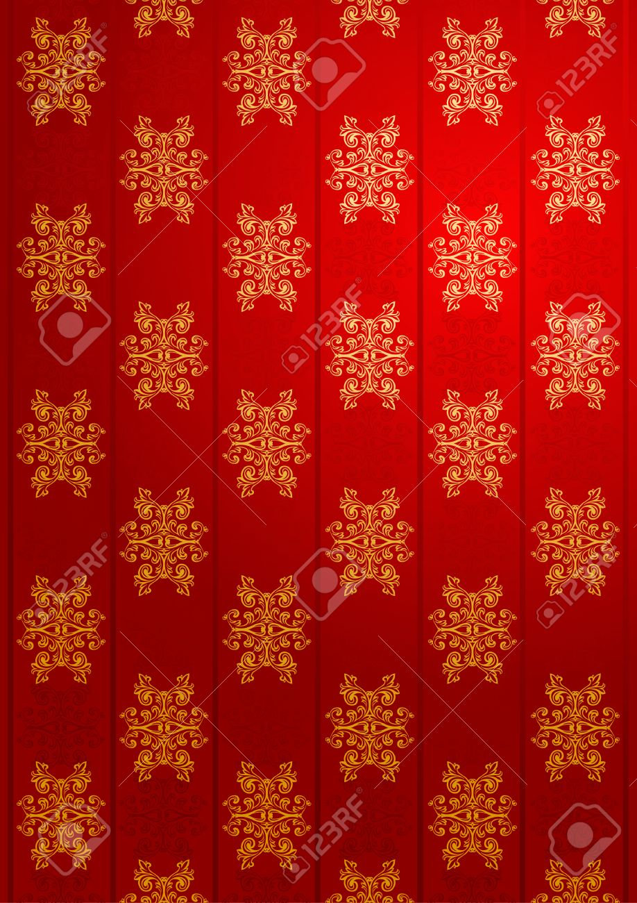 Vector red and gold glamour wallpaper Stock Vector - 3610473