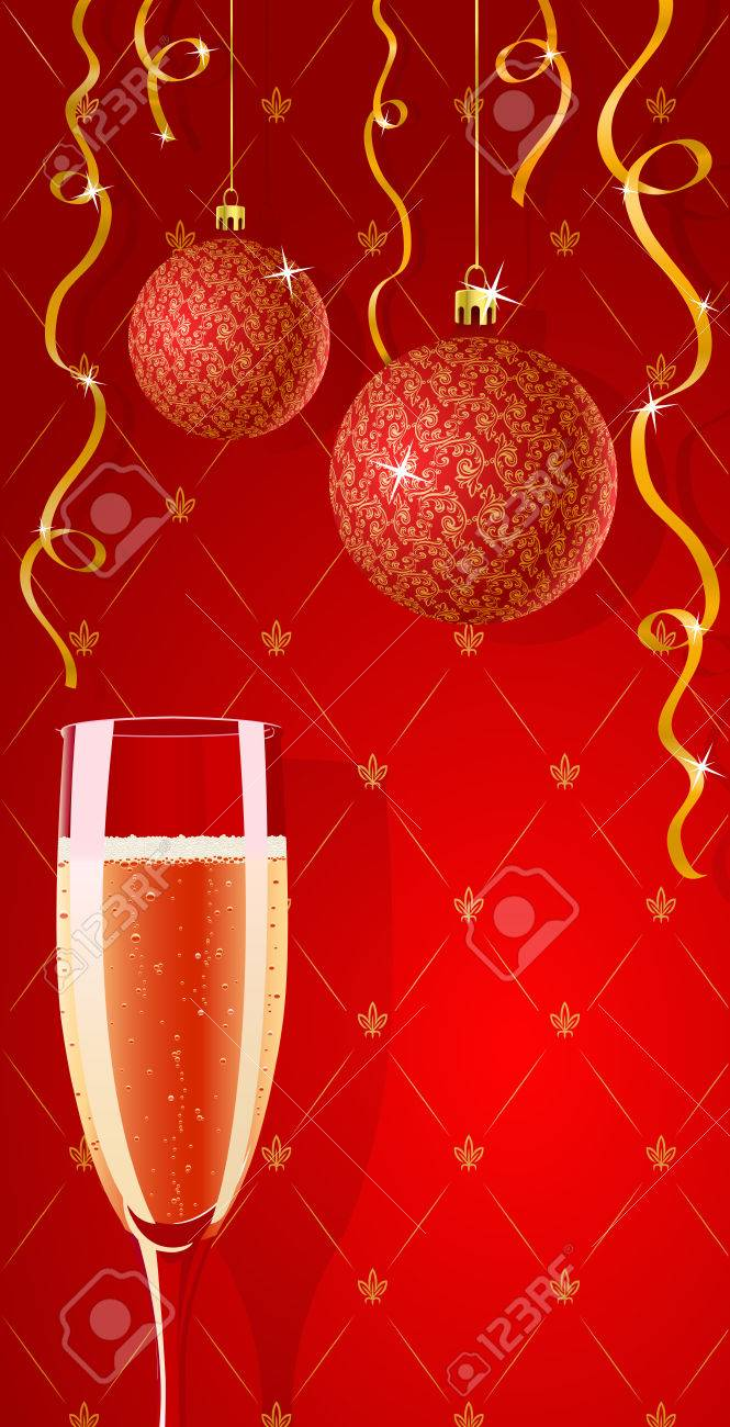 vector holiday red and gold glamour wallpaper with champagne