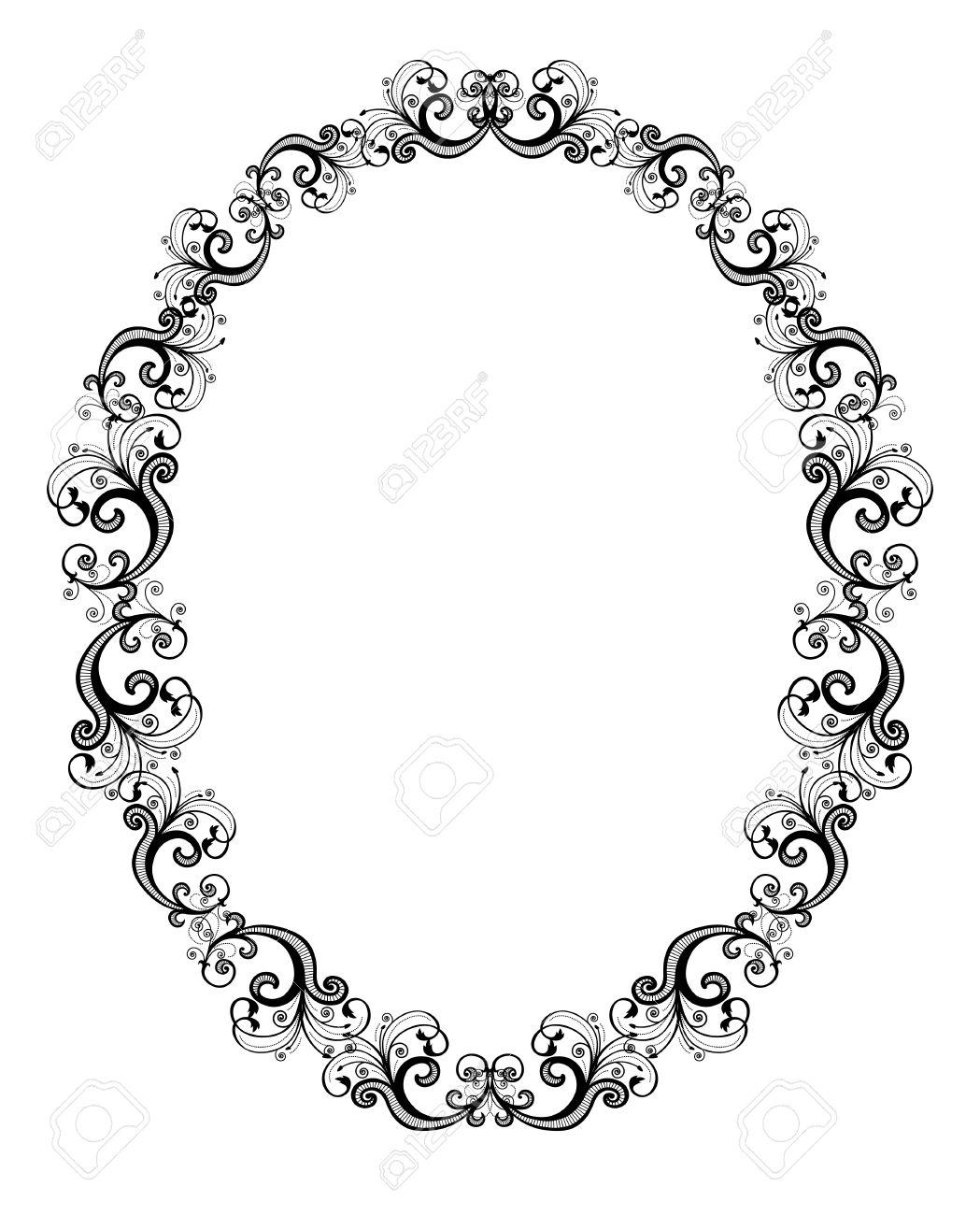 Vector Illustration Of Black Floral Frame Over White Background ...