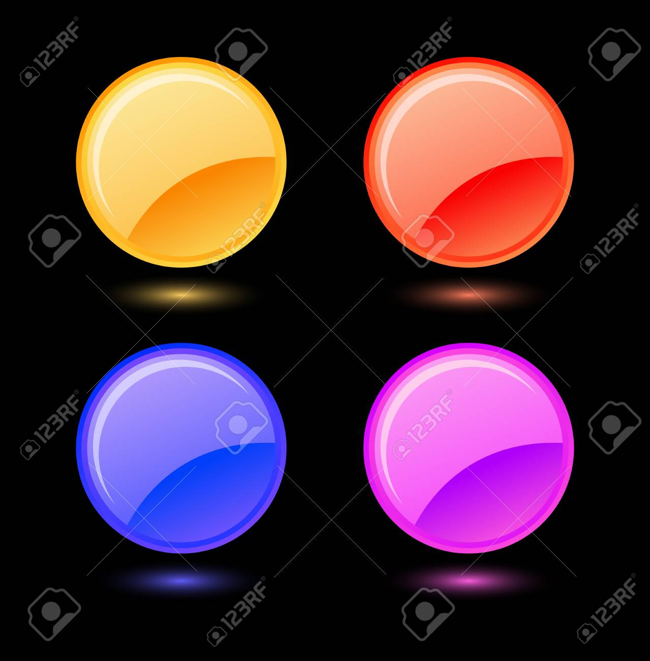 Set of vector colored glossy circles Stock Vector - 4017372