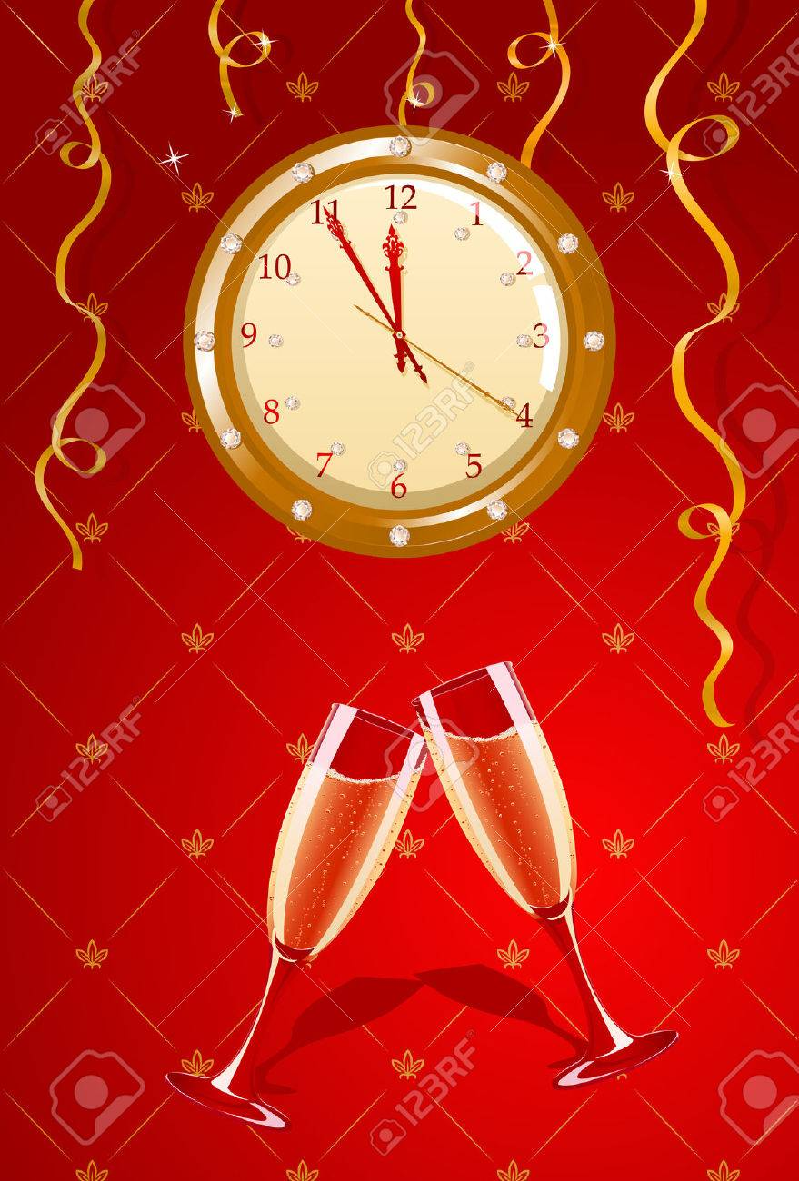 Vector illustration of holiday clock and champagne glasses Stock Vector - 4017393