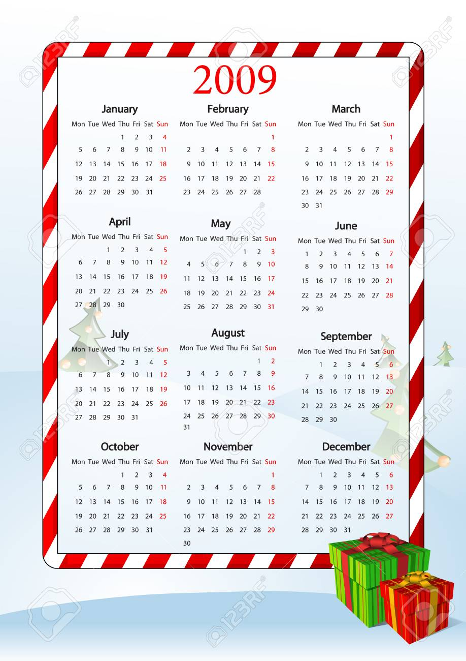 Vector illustration of European calendar with gift boxes, starting from Mondays Stock Vector - 4017380