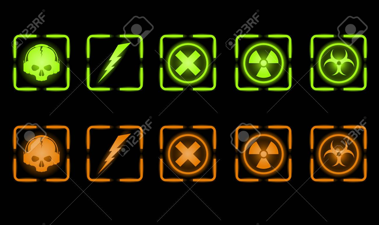 Vector set of green and orange industrial icons Stock Vector - 4017369
